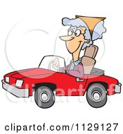 Cartoon Of An Old Lady Driving A Red Convertible Car Royalty Free Vector Clipart