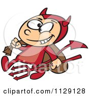 Cartoon Of A Devil Boy Carrying A Sack And Pitchfork Royalty Free Vector Clipart