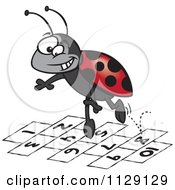 Cartoon Of A Ladybug Jumping Over Numbers Royalty Free Vector Clipart