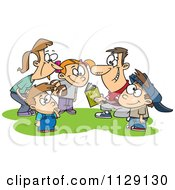 Cartoon Of A Huddling Family Going Over A Football Play Book Royalty Free Vector Clipart by Ron Leishman