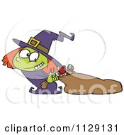 Cartoon Of A Halloween Witch Girl Hauling Her Candy Sack Royalty Free Vector Clipart by Ron Leishman