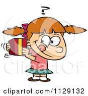 Cartoon Of A Girl Trying To Guess A Gift Royalty Free Vector Clipart