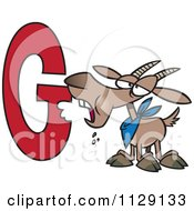 Cartoon Of A Goat Eating The Letter G Royalty Free Vector Clipart