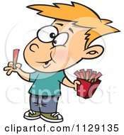 Cartoon Of A Happy Boy Eating French Fries Royalty Free Vector Clipart