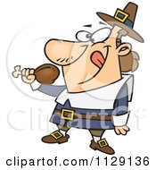 Cartoon Of A Hungry Thanksgiving Pilgrim Eating A Drumstick Royalty Free Vector Clipart by toonaday