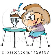 Cartoon Of An Excited Girl With An Ice Cream Sundae Royalty Free Vector Clipart by Ron Leishman