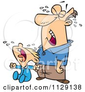 Cartoon Of A Frustrated Father Crying With His Son Royalty Free Vector Clipart