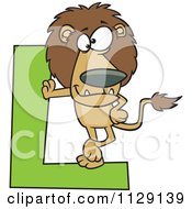 Lion Leaning On A Letter L