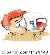 Cartoon Of A Happy Red Haired Boy Buried In Beach Sand Royalty Free Vector Clipart