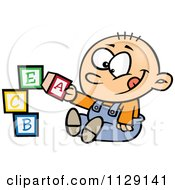 Cartoon Of A Happy Baby Boy Playing With Alphabet Blocks Royalty Free Vector Clipart