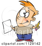 Cartoon Of A Happy Boy Holding A Sheet Of Paper And A Pencil Royalty Free Vector Clipart