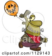 Cartoon Of Frankenstein With A Halloween Jackolantern Balloon Royalty Free Vector Clipart