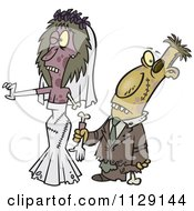 Cartoon Of A Zombie Wedding Bride And Groom Couple Royalty Free Vector Clipart by Ron Leishman