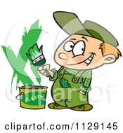 Cartoon Of A Boy Painting A Wall Green Royalty Free Vector Clipart by toonaday