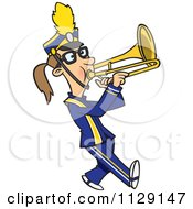 Cartoon Of A Marching Band Trombone Player Girl Royalty Free Vector Clipart