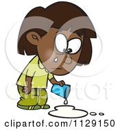 Cartoon Of A Black Girl Crying Over Spilled Milk Royalty Free Vector Clipart by Ron Leishman