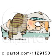 Cartoon Of A Tired Boy Lying In Bed With A Pillow Over His Head Royalty Free Vector Clipart by toonaday