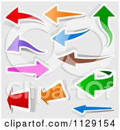 Clipart Of Colorful Arrows With White Outlines On Gray Royalty Free Vector Illustration