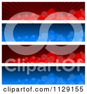 Clipart Of Blue And Red Blurry Bubble And Ray Website Banners Royalty Free Vector Illustration by dero