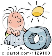 Cartoon Of A Happy Caveman Admiring A Wheel Under The Sun Royalty Free Vector Clipart by Johnny Sajem