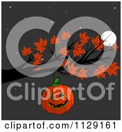 Cartoon Of A Halloween Jackolantern Pumpkin Hanging From An Autumn Maple Tree Branch At Night Royalty Free Clipart
