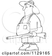 Cartoon Of An Outlined Redneck Hillbilly Man Carrying A Rifle Royalty Free Vector Clipart