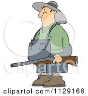 Cartoon Of A Redneck Hillbilly Man Carrying A Rifle Royalty Free Vector Clipart by djart