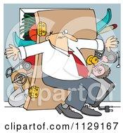 Cartoon Of A Man Pushing Back Against A Bulging Closet Door Royalty Free Vector Clipart by djart
