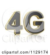 Clipart Of 3d Perforated Gold Rimmed Metal 4G Royalty Free CGI Illustration