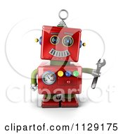 Clipart Of A 3d Red Repair Robot Holding A Wrench Royalty Free CGI Illustration