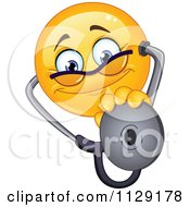 Cartoon Of A Yellow Emoticon Smiley Doctor Holding Out A Stethoscope Royalty Free Vector Clipart