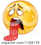 Cartoon Of An Exhausted Yellow Emoticon Smiley Hanging His Tongue Out Royalty Free Vector Clipart