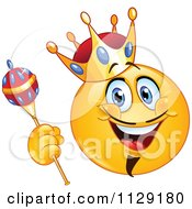 Cartoon Of A Yellow King Emoticon Smiley Royalty Free Vector Clipart