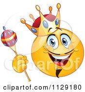 Cartoon Of A Yellow King Emoticon Smiley Royalty Free Vector Clipart