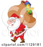 Santa Carrying A Heavy Bag Of Christmas Presents