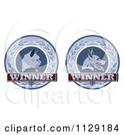 Clipart Of Winner Cat And Dog Laurel Wreath Pet Award Medals Royalty Free Vector Illustration