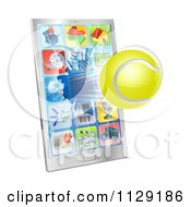 Clipart Of A 3d Tennis Ball Flying Through And Breaking A Smart Phone Screen Royalty Free Vector Illustration
