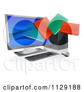 Clipart Of 3d Digital Books Emerging From A Desktop Computer Screen Royalty Free Vector Illustration