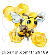 Cartoon Of A Cute Bee Waving Over Honeycombs Royalty Free Vector Clipart by AtStockIllustration