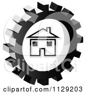 Clipart Of A Grayscale Home Gear Cog Icon Royalty Free Vector Illustration