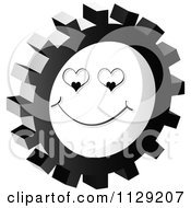 Clipart Of A Grayscale Love Face Gear Cog Icon Royalty Free Vector Illustration by Andrei Marincas