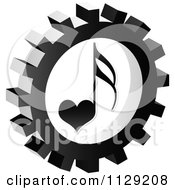 Clipart Of A Grayscale Love Music Note Gear Cog Icon Royalty Free Vector Illustration by Andrei Marincas
