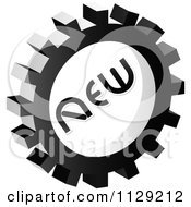 Clipart Of A Grayscale New Gear Cog Icon Royalty Free Vector Illustration by Andrei Marincas