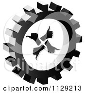 Clipart Of A Grayscale Thumb Up Gear Cog Icon Royalty Free Vector Illustration by Andrei Marincas