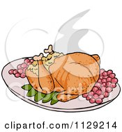 Cartoon Of A Roasted Thanksgiving Turkey Royalty Free Vector Clipart by LaffToon