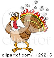 Cartoon Of A Confused Thankgiving Turkey Bird With Burning Feathers Royalty Free Vector Clipart