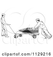 Clipart Of Retro In US Navy Sailors Hauling A Large Shell Black And White Royalty Free Vector Illustration
