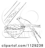 Cartoon Clipart Of An Outlined Swallow On Its Nest Between Beams Black And White Vector Coloring Page