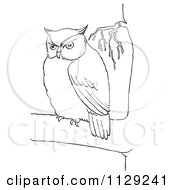 Cartoon Clipart Of An Outlined Chubby Owl In A Tree Black And White Vector Coloring Page