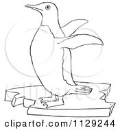 Cartoon Clipart Of An Outlined Cute Penguin Flapping Its Wings Black And White Vector Coloring Page by Picsburg